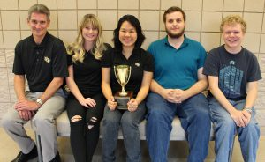UCF team poses with Mid-Atlantic Ethics Bowl trophy