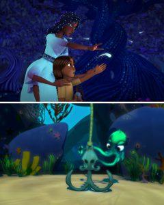 Still images of short films Dreamweaver and Cuddlefish