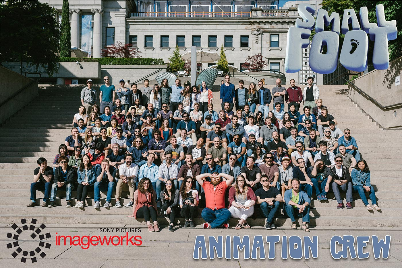 Group shot of Sony's Small Foot animation crew including two UCF animation grads