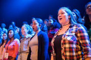 Students singing in choir