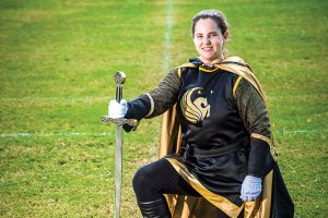UCF drum major with sword