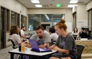 Students work on their writing at the University Writing Center