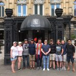 UCF Trombone Class in front of the Teatro Nacional in Costa Rico.