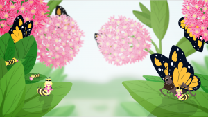 Animated butterflies nested in pink flowers, cartoon image