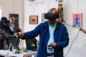 A person experiences UCF's Middle Passage VR