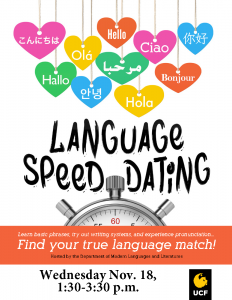 flyer for Language speed dating event