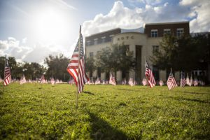 Flags honoring veterans on UCF's Memory Mall