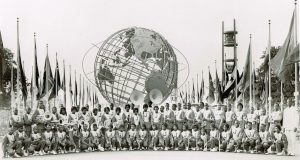 Members of the Jones and Edgewater High School bands at the 1964 World's Fair, as featured in Marching Forward