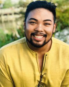"""Darren Escarcha Cajipo, a Theatre MFA intern performing in """"Kiss Me, Shakespeare!"""""""